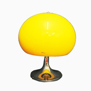 Large Yellow Mushroom Table Lamp in Plastic and Chrome from Guzzini, 1970s