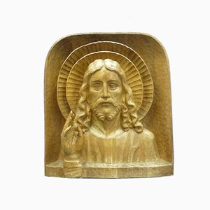 Anthroposophical Jesus Limewood Sculpture, 1940s