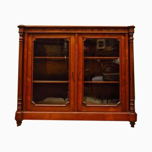 Antique Rosewood Display Cabinet with Velvet Interior