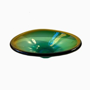 Murano Green & Yellow Centerpiece Dish by Flavio Poli for Seguso, 1960s