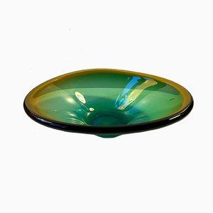 Murano Green & Yellow Centerpiece Dish by Flavio Poli for Seguso, 1960s
