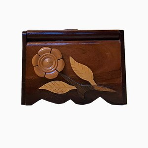 Vintage Folk Art Hand Towel Box in Mixed Woods, 1970s