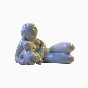 Antique Danish Blanc de Chine Mother & Child Figurine by Kai Nielsen for Bing & Grondahl