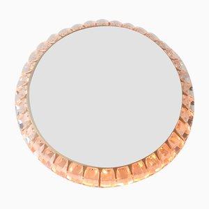 Specchio Mid-Century in ottone con luce di Palwa, anni '60