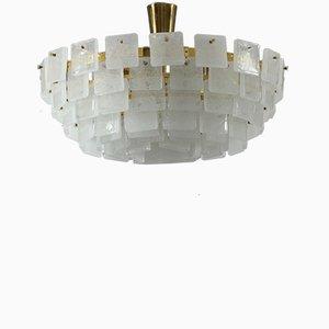 Deckenlampe aus Kristallglas mit Blasen von JT Kalmar für Kalmar, Wien, 1960er
