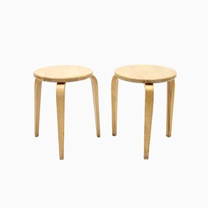 Birch Stools by Gustaf Axel Berg, 1940s, Set of 2