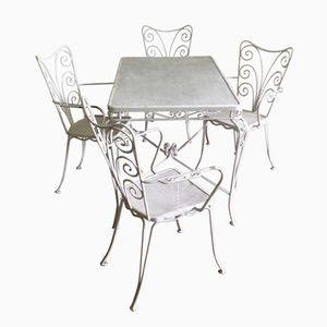 White Garden Table and Garden Chairs, Set of 5