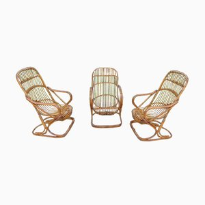 Rattan and Wicker Lounge Chairs, 1970s, Set of 3