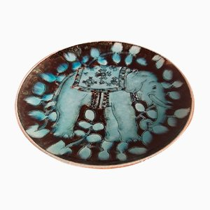 Ceramic Wall Plate by Gustav Heinkel for Karlsruher Majolika, 1930s