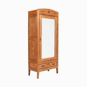 Art Nouveau Arts & Crafts Gold Oak Wardrobe, 1900s