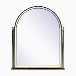 Hollywood Regency Brass and Chrome Arched Mirror, 1970s