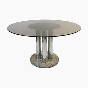 Vintage Smoked Glass and Chrome Columns Granite Circular Dining Table from Zanotta, 1970s