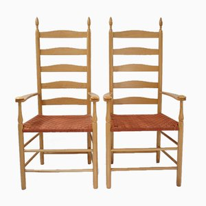 Vintage English Maple Frame and Woven Seat Shaker Elder Chairs, Set of 2