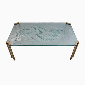 Dutch Brutalist Glass & Gold Lacquer Coffee Table by Peter Ghyczy, 1980s