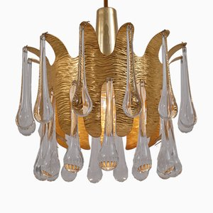 German Gilt Brass & Crystal Pendants Lamps by Ernst Palme for Palwa, 1960s, Set of 2