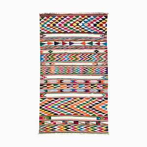 Large North African Handmade Berber Geometric Boho Rug, 1970s