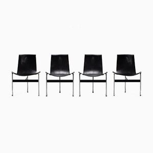 Black Leather Dining Chairs by William Katavolos, 1950s, Set of 4