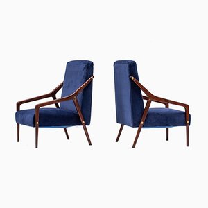 Mid-Century Italian Blue Velvet Armchairs, Set of 2