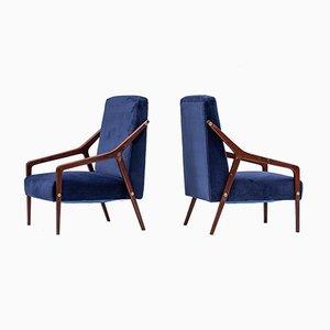 Mid-Century Italian Blue Velvet Armchairs, Set of 2