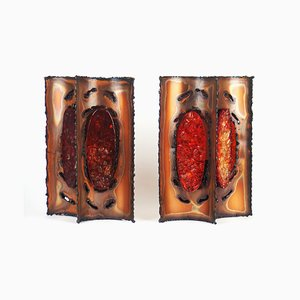 Brutalist Copper Sconces from Poteries d'accolay, 1970s, Set of 2