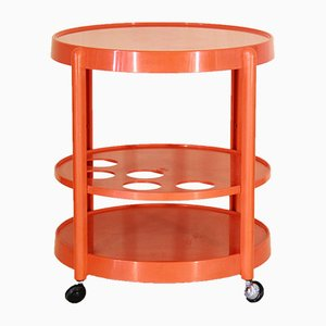 Vintage Orange Bar Trolley, 1970s
