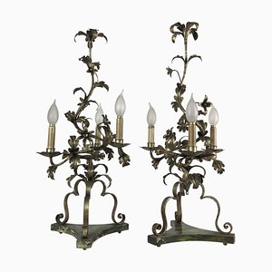 Italian Wrought Iron Candelabras with Floral Leaf-Motif Arms, 1960s, Set of 2