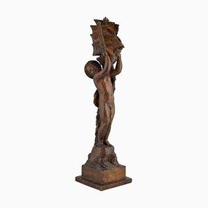 Niño Escultura Art Déco de bronce con bote de Henri Raphael Moncassin para Susse Freres, años 20