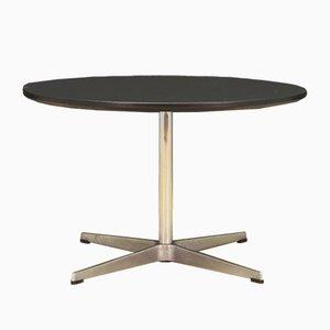 Danish Aluminum & Chrome-Plated Round Coffee Table by Arne Jacobsen for Fritz Hansen, 1970s