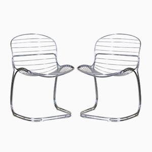 Italian Steel Model Sabrina Dining Chairs by Gastone Rinaldi for Rima, 1970s, Set of 2