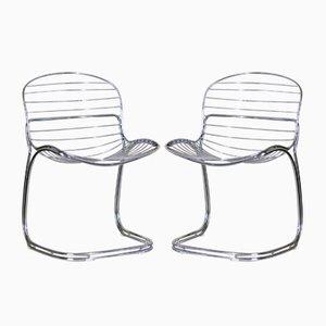 Italienische Modell Sabrina Esszimmerstühle aus Stahl von Gastone Rinaldi für Rima, 1970er, 2er Set