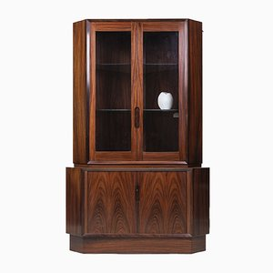 Danish Rosewood Corner Cupboard with Glass Case, 1960s