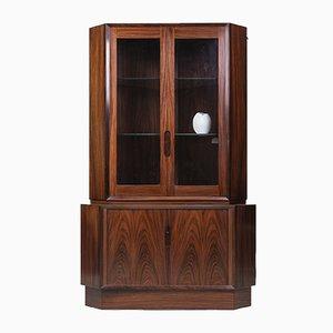 Danish Rosewood Corner Cupboard with Glass Case, 1960s