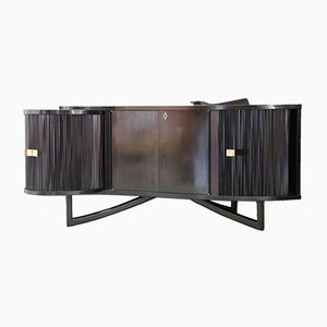Italian Bar Cabinet in Ebonized Wood and Brass, 1940s