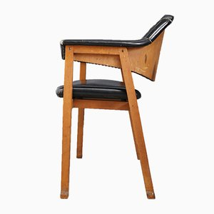 Dining Chairs in Wood and Black Leather Attributed to BBPR, 1950s, Set of 4