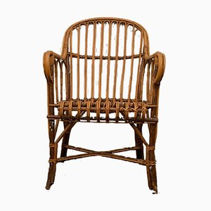 Italienischer Armlehnstuhl aus Bambus & Korbgeflecht, 1960er