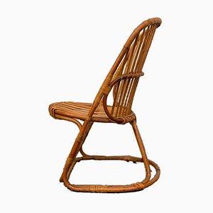 Italian Bamboo and Wicker Lounge Chair, 1960s