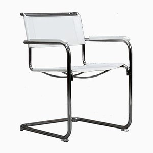 Modern White Leather S34 Armchair by Mart Stam for Thonet, 1990s