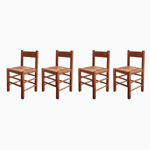 Oak and Rope Dining Chairs, 1960s, Set of 4