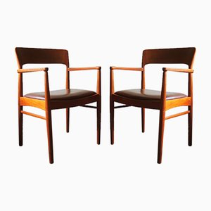 Mid-Century Danish Teak and Leather Carver Chairs, Set of 2