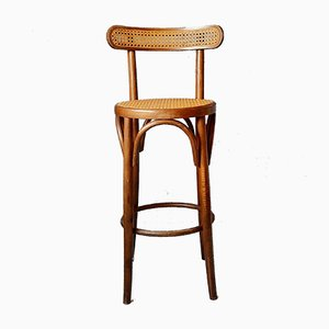 Bentwood and Rattan Barstools, 1970s, Set of 2