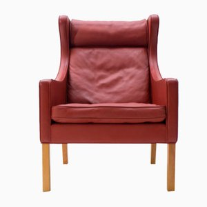 Leather & Oak Wingback Chair Mod. 2204 by Børge Mogensen for Fredericia, 1980s