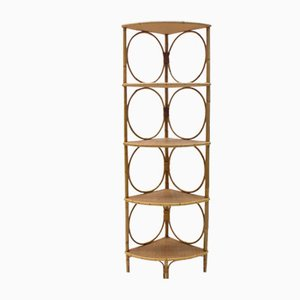 Bamboo and Wicker Corner Shelf, Italy, 1950s