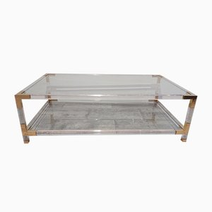 Vintage Lucite Coffee Table with Brass Details by Charles and Hollis Jones