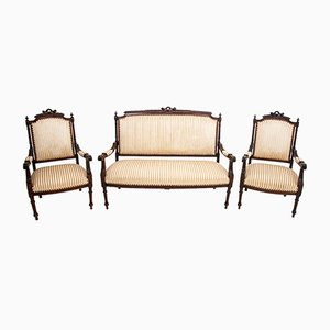 Antique Chippendale Sofa & Armchairs, 1900s, Set of 3