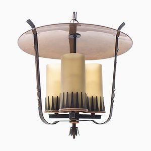 Mid-Century Pendant Lamp in Copper and Satinized Cylindrical Glass, 1950s