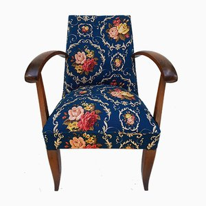 Teal Floral Lounge Chairs, 1950s, Set of 2