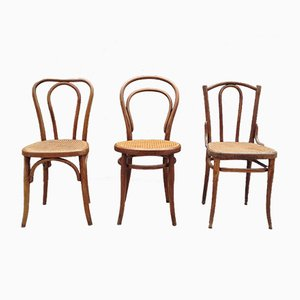 Vintage Bentwood Bistro Chairs from Thonet and Fischel, Set of 3