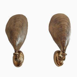 Bronze Muschel Wandleuchten von Maison Jansen, 1970er, 8er Set