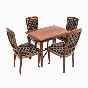 Antique Empire Dining Table & Chairs Set, Set of 5
