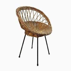 Vintage Rattan and Basket Chair with Metal Legs, 1950s